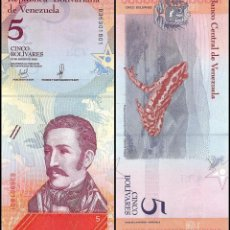 Lotes de Billetes: LOTE 5 BILLETES 5 BOLIVARES SOBERANOS VENEZUELA 2018 SIN CIRCULAR. Lote 270142638