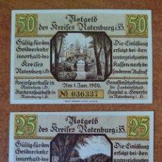 Lotes de Billetes: ALEMANIA. 2 BILLETES NOTGELD STADT ROTENBURG (SERIE COMPLETA). SIN CIRCULAR!!!. Lote 276048358
