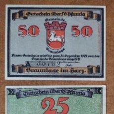 Lotes de Billetes: ALEMANIA. 3 BILLETES NOTGELD STADT BRAUNLAGE (SERIE COMPLETA). SIN CIRCULAR!!!. Lote 276707818