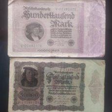 Lotes de Billetes: LOTE DOS BILLETES ALEMANIA, 50000 MARCOS 1922 Y 100000 MARCOS 1923. Lote 278488213