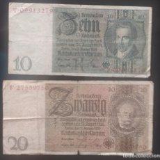 Lotes de Billetes: LOTE DOS BILLETES ALEMANIA,10 Y 20 REICHSMARK 1929. Lote 278489043