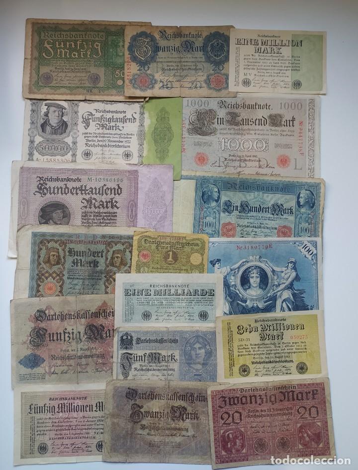 Lotes de Billetes: Excelente lote de 38 billetes españoles (21) y alemanes (17) ,todos diferentes(ver fotos) - Foto 2 - 288332713