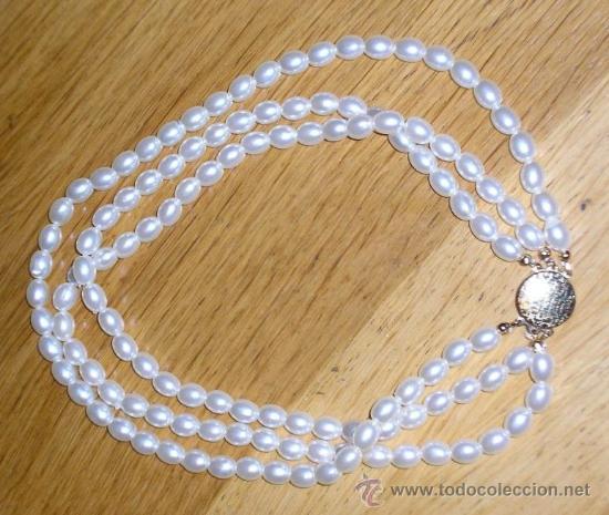 9d7990911839 collar con 3 vueltas de perlas y broche