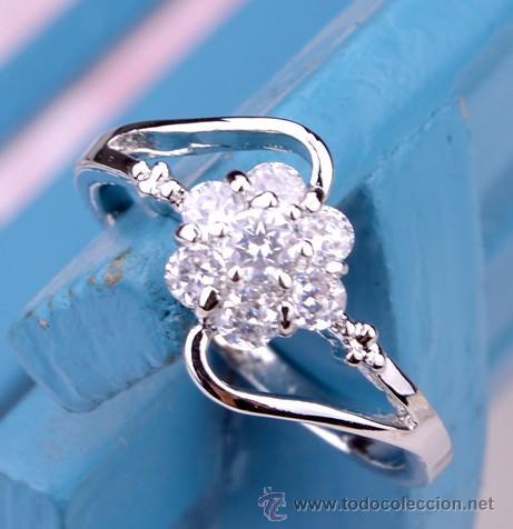 ce41ea5fa47d anillo flor en oro blanco laminado y circonit - Comprar Bisuteria en ...