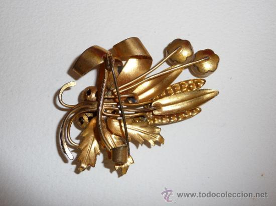 Joyeria: Bonito broche antiguo de laton modernista y pedreria - Foto 3 - 36141144