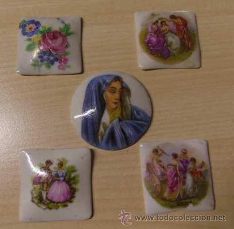 Joyeria: Set de cinco camafeos sin aguja todos distintos de Limoges, Francia - Foto 3 - 36418595