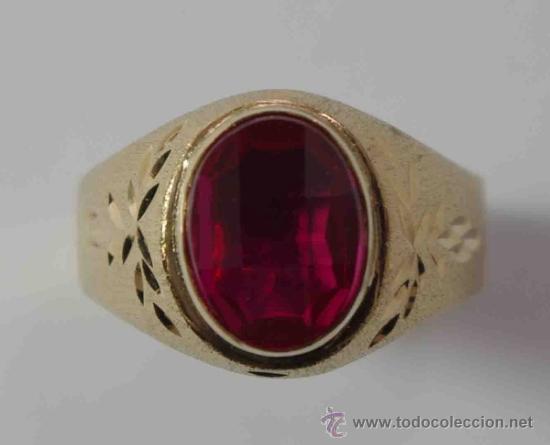 d2d9029f Sortija anillo hombre oro 18 quilates, rubi sin - Sold through ...