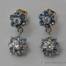 Joyeria: PENDIENTES ORO BLANCO DE 18 QUILATES Y CIRCONITAS -EARRINGS 18 CARAT WHITE GOLD AND ZIRCON. Lote 38007543
