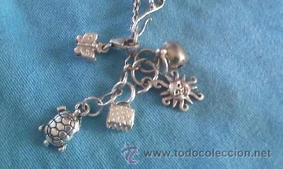 buscar auténtico bonita y colorida brillo de color Preciosa pulsera de plata con muchos colgantes - Vendido en ...