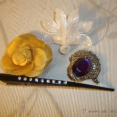 Joyeria: 4 BROCHES ANTIGUOS, DISTINTOS MATERIALES Y DECADAS, VER FOTO.. Lote 39879429