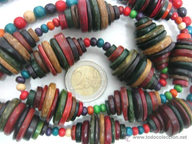 Joyeria: Antiguo collar extra largo - traje regional tribal étnico - cuentas discos multicolores - Foto 2 - 40014191