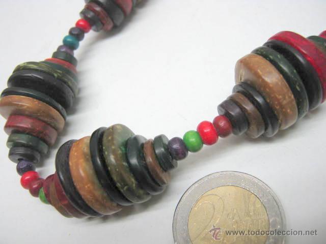 Joyeria: Antiguo collar extra largo - traje regional tribal étnico - cuentas discos multicolores - Foto 3 - 40014191