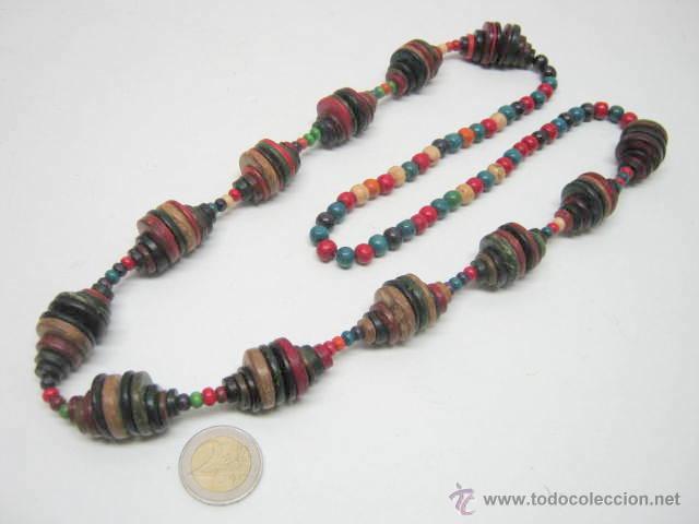 Joyeria: Antiguo collar extra largo - traje regional tribal étnico - cuentas discos multicolores - Foto 4 - 40014191