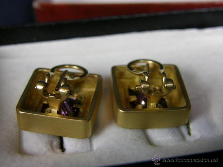Joyeria: pendientes metal dorado cuadrados vidrio facetado morado cierre clip o pinza estuche joyería Aressio - Foto 4 - 40564931