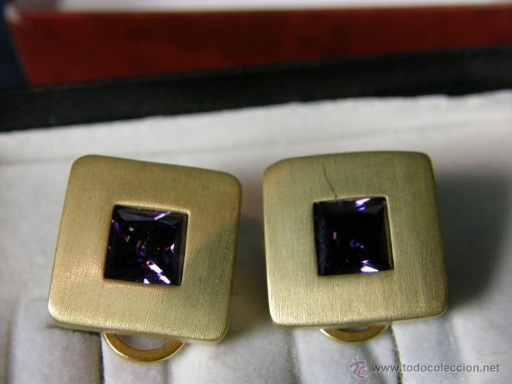 Joyeria: pendientes metal dorado cuadrados vidrio facetado morado cierre clip o pinza estuche joyería Aressio - Foto 5 - 40564931