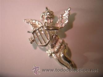 COLGANTE PLATA ANGEL CON ARPA (Bisutería)