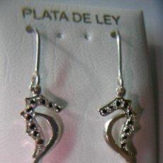Joyeria: PENDIENTES CABALLITO DE MAR DE PLATA CON PIEDRAS. Lote 41543980