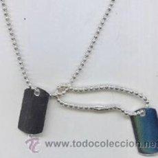 Joyeria: JUEGO CHAPAS MILITARES DE PLATA CON CADENAS. Lote 41567648