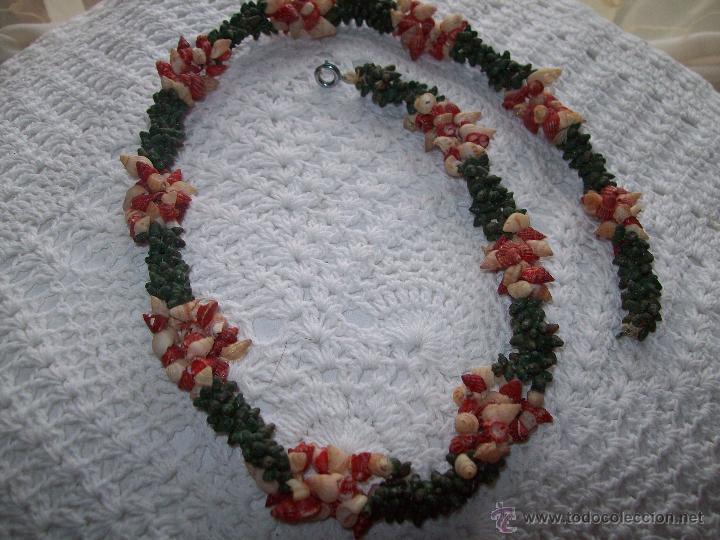 Joyeria: collar caracolas pintadas 55cm años 50-60 - Foto 5 - 40985102