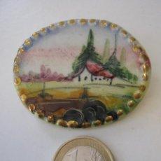 Antiguo broche medallon camafeo porcelana - Limoges pintura esmaltada