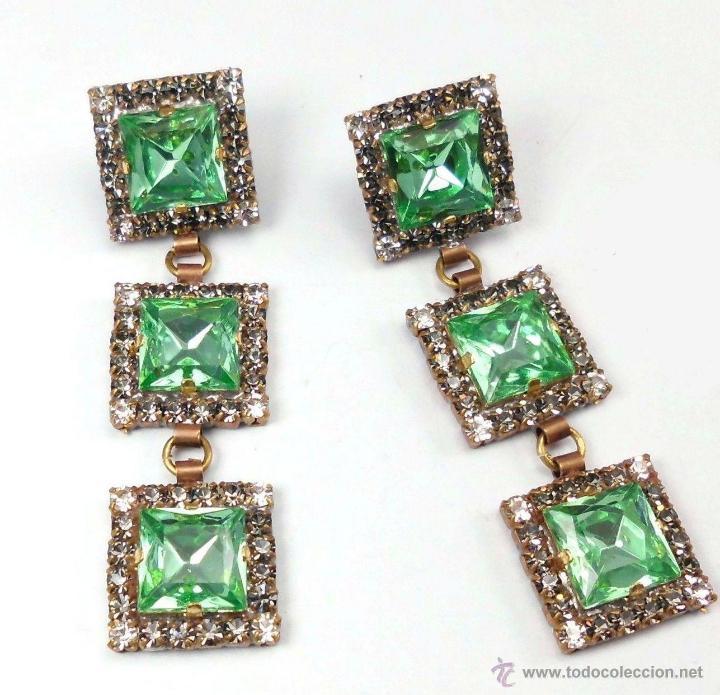 0a0df379f1e0 Pendientes de Cristal de Bohemia Diseño Art Deco en verde esmeralda ENVIO  GRATIS