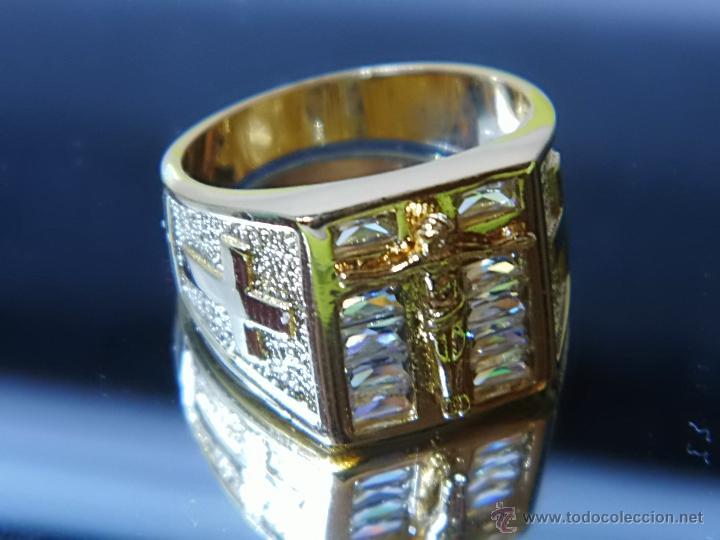 Joyeria: Anillo de oro laminado 18k de 6,10 gramos,Jesus en la cruz - Foto 3 - 52721488