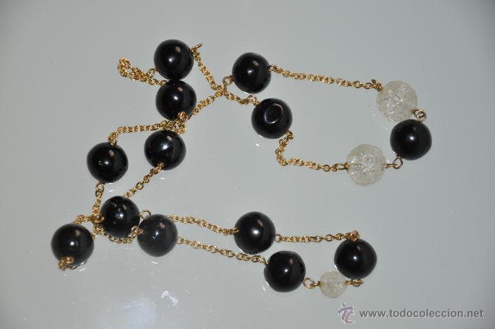 Joyeria: collar con agatas negras y cuarzo vintage - Foto 2 - 45811232