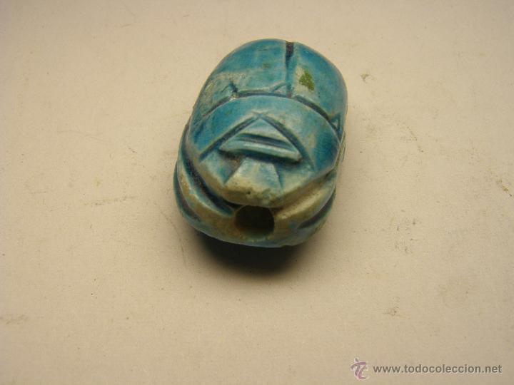 Joyeria: Escarabeo egípcio de porcelana para colgante. - Foto 2 - 54380207