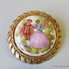broche de porcelana de Limoges y metal