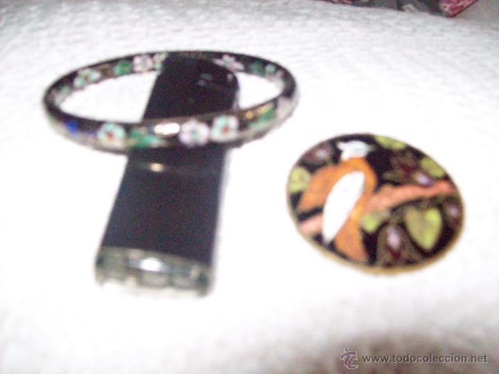 Joyeria: Pulsera vintage oriental estilo Cloisonne y broche esmaltado - Foto 4 - 49050413