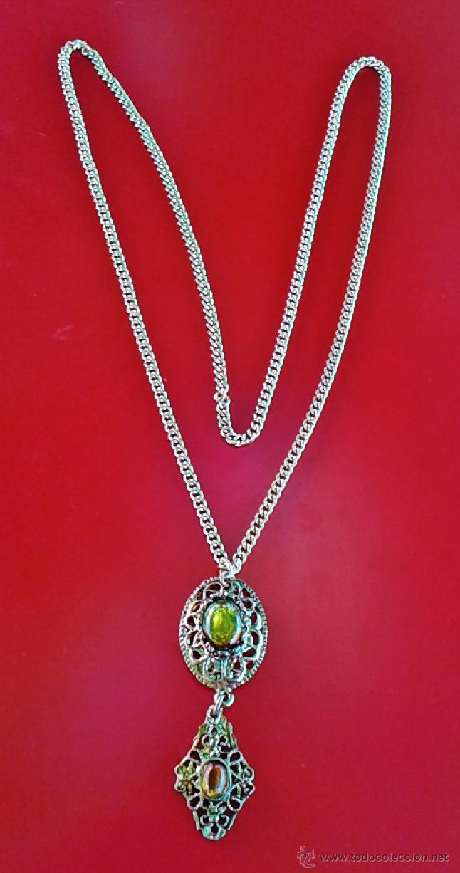 dd027e142c57 bisuteria - collar / colgante vintage - rosetones con piedras y cadena  metal - sin estrenar -años 80