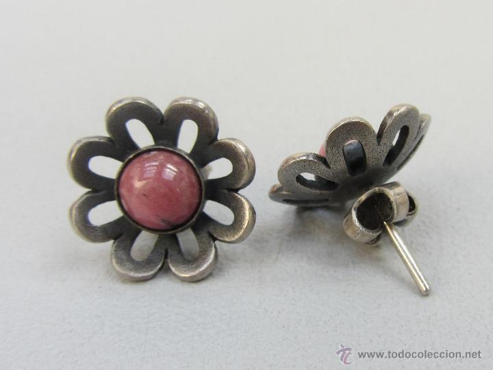 Joyeria: pendientes vintage de plata y aniolita rosa. Años 60 - Foto 2 - 54499921