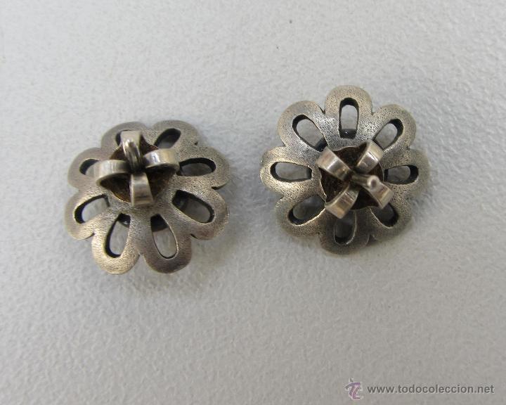 Joyeria: pendientes vintage de plata y aniolita rosa. Años 60 - Foto 3 - 54499921