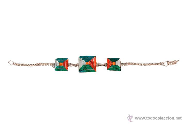Joyeria: Preciosa pulsera en plata 950 mmg pureza con incrustación nacar de 18 cm de largo año 1980 - Foto 3 - 27147180