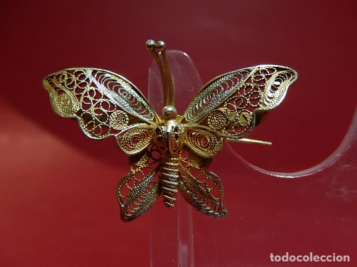 Joyeria: Mariposa filigrana en plata 800. Mitad del siglo XX. - Foto 2 - 62233704