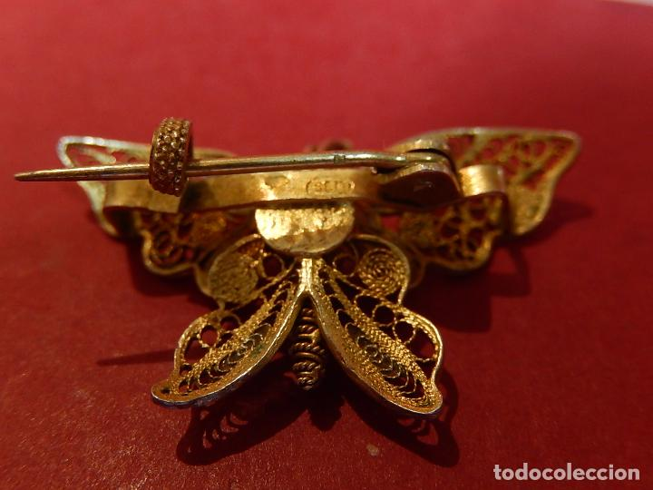 Joyeria: Mariposa filigrana en plata 800. Mitad del siglo XX. - Foto 7 - 62233704