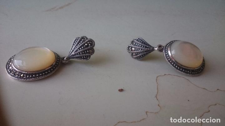 Joyeria: Pendientes en plata 925mmg pureza con nácar-zirconio. Año 1984 - Foto 2 - 192709072