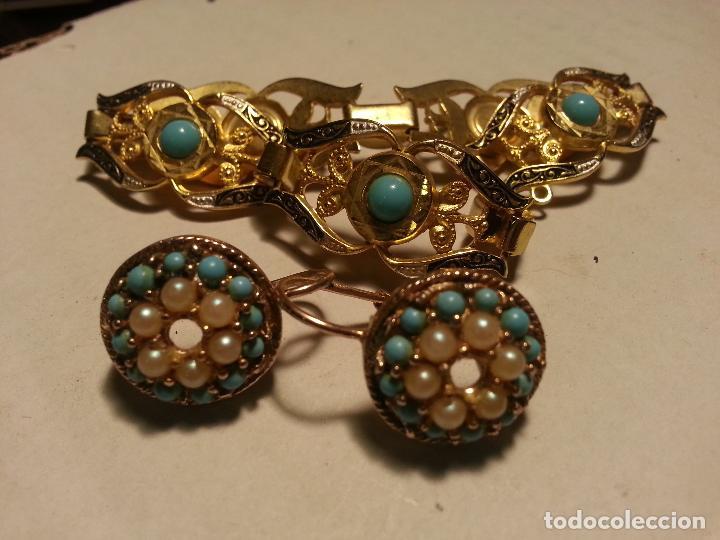 Joyeria: turquesas . antigua pareja de pendiente y pulsera juego vintage - Foto 2 - 69307321