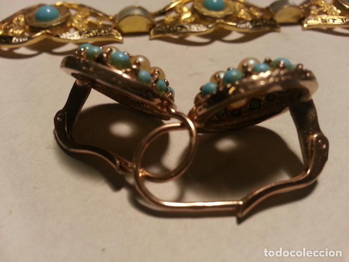 Joyeria: turquesas . antigua pareja de pendiente y pulsera juego vintage - Foto 7 - 69307321