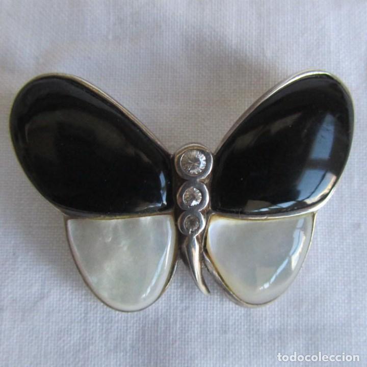 540133f34373 Colgante de plata 925 en forma de mariposa. Alas de nácar y cuarzo negro  (onix) cuerpo circonitas