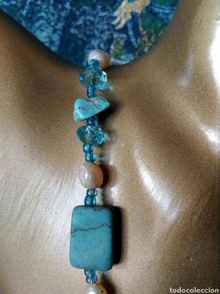 Joyeria: Muy bello collar con ágatas turquesas y perlas barrocas - Foto 2 - 78888887