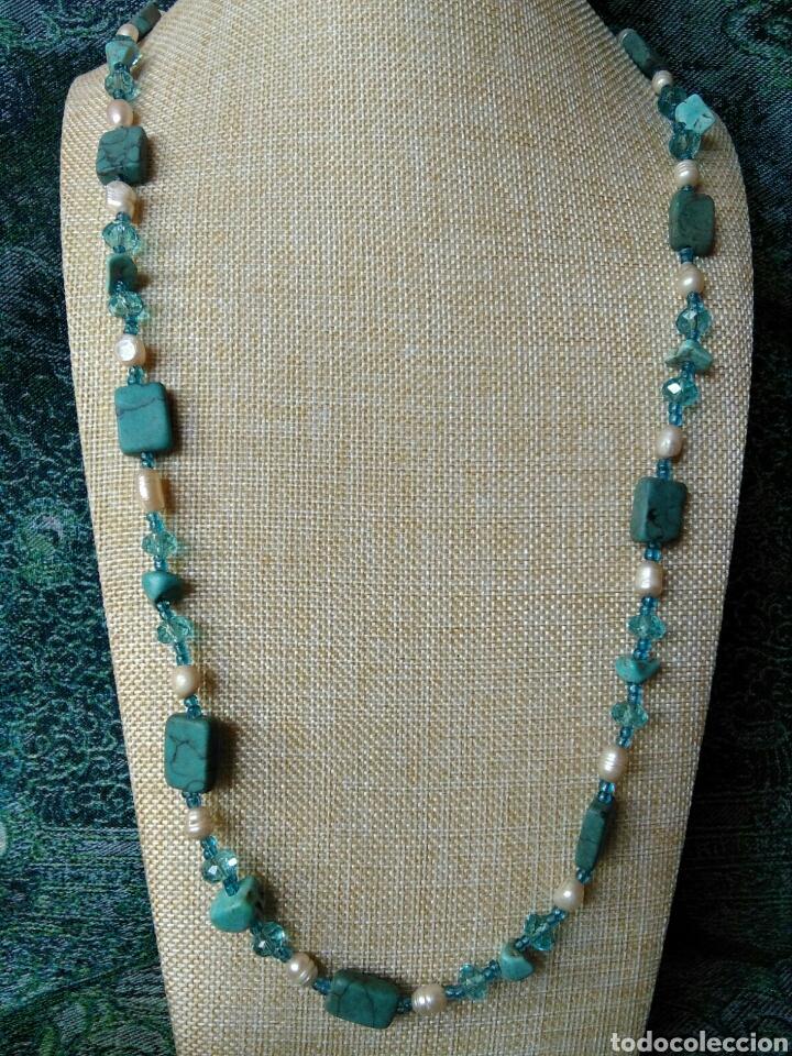 Joyeria: Muy bello collar con ágatas turquesas y perlas barrocas - Foto 5 - 78888887