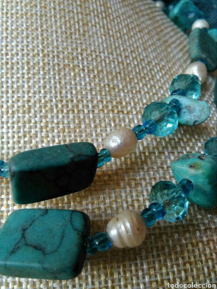 Joyeria: Muy bello collar con ágatas turquesas y perlas barrocas - Foto 6 - 78888887
