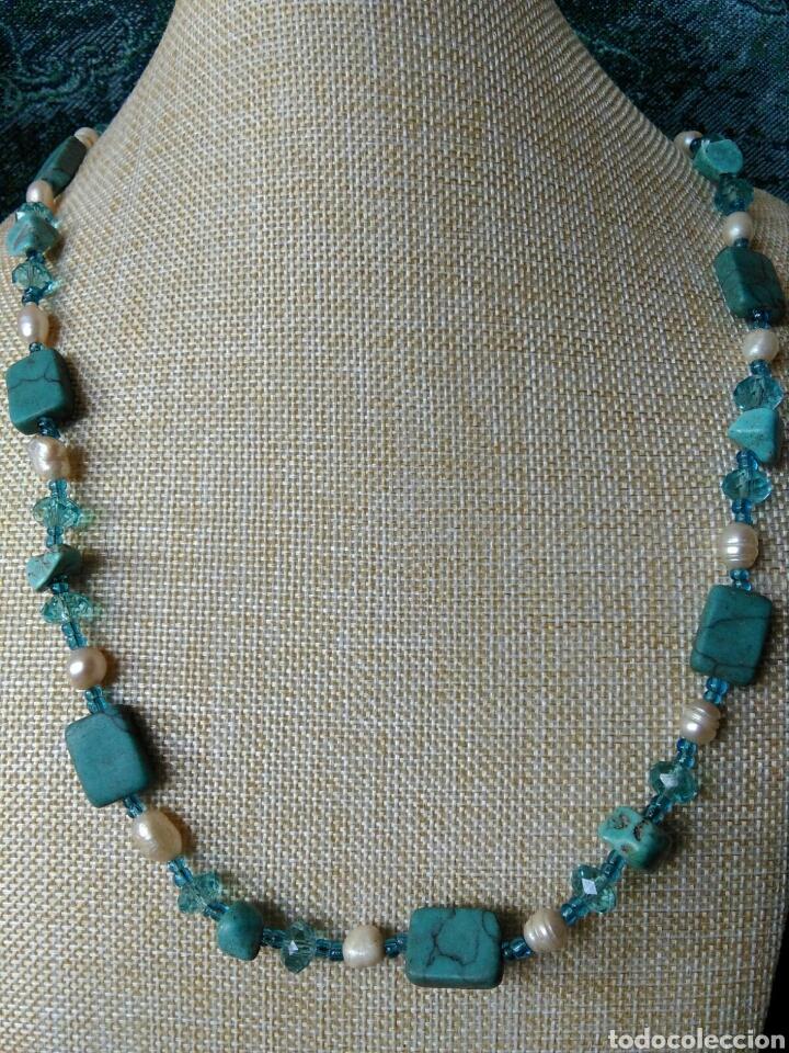 Joyeria: Muy bello collar con ágatas turquesas y perlas barrocas - Foto 8 - 78888887