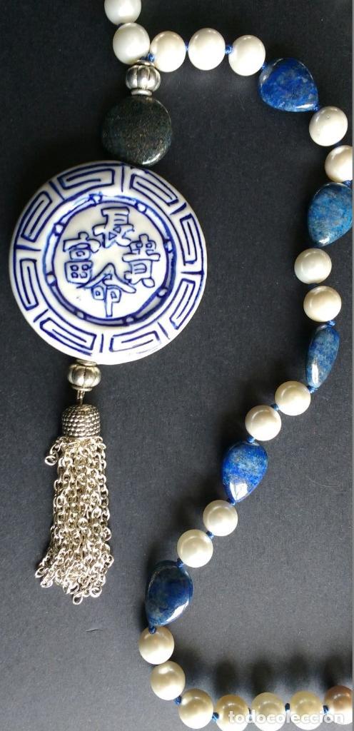 Joyeria: Collar nácar y colgante de porcelana china. - Foto 2 - 94896547