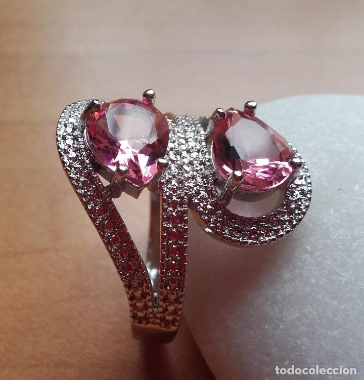 Joyeria: Anillo estilo vintage, con topacios rosa facetados en plata 925. Talla 21. - Foto 2 - 162474340