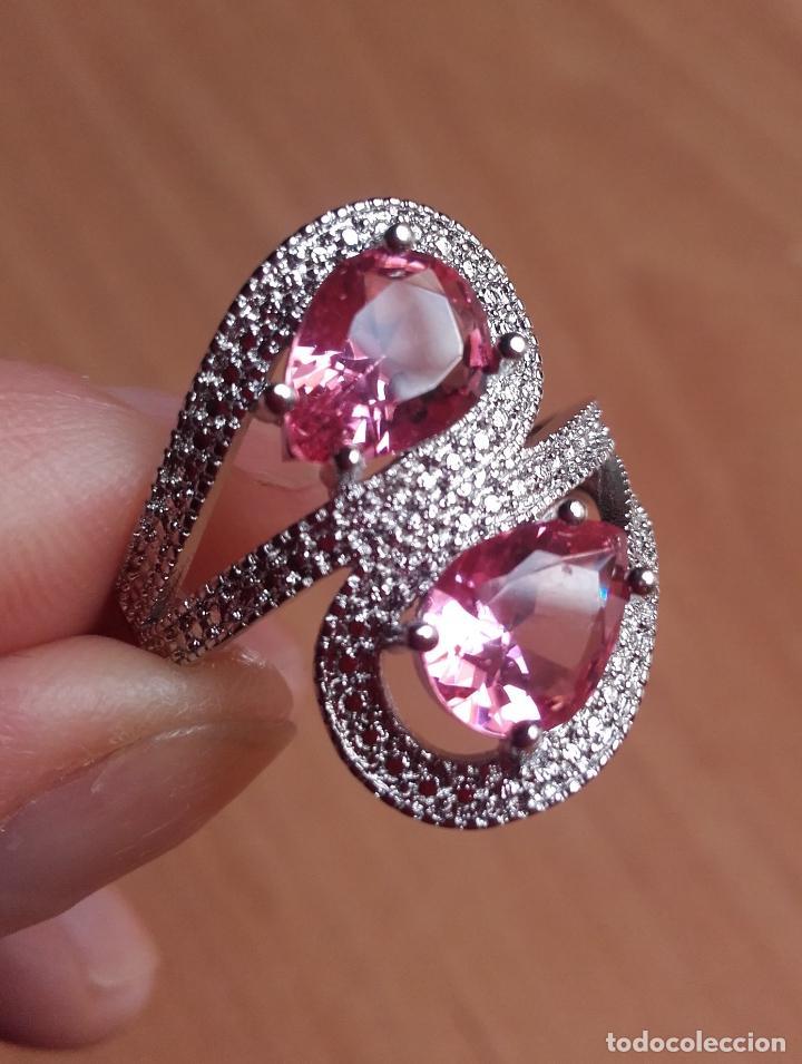 Joyeria: Anillo estilo vintage, con topacios rosa facetados en plata 925. Talla 21. - Foto 3 - 162474340