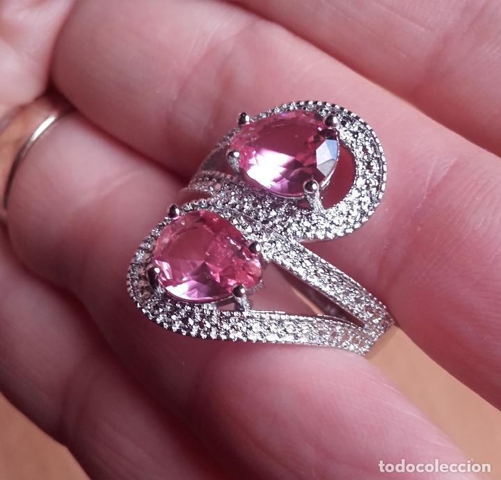 Joyeria: Anillo estilo vintage, con topacios rosa facetados en plata 925. Talla 21. - Foto 4 - 162474340