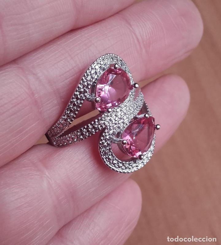 Joyeria: Anillo estilo vintage, con topacios rosa facetados en plata 925. Talla 21. - Foto 5 - 162474340