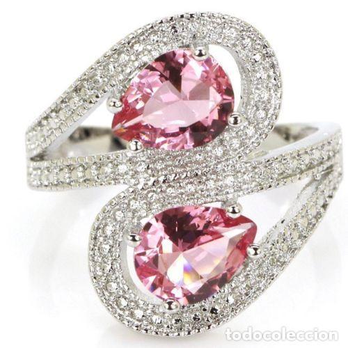 Joyeria: Anillo estilo vintage, con topacios rosa facetados en plata 925. Talla 21. - Foto 6 - 162474340